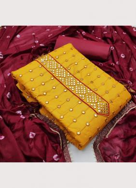 Casual Wear New Designer Glace Cotton Salwar Suits With Bandhani Dupatta Collection