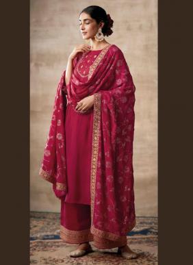 Kimora Fashion Noorani Tussar Silk Self Embroidery Work Latest Designer Festival Wear Palazzo Suits Collection