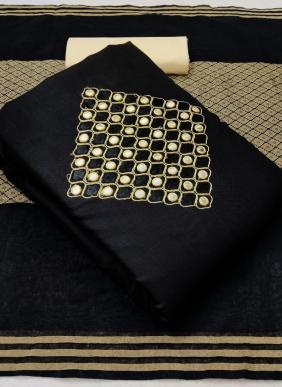 Slub Cotton Latest Designer Casual Wear Fancy Work Black Salwar Suits With Banarasi Jacquard Dupatta Collection