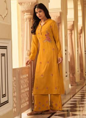 Stylemax Vintage Vol 5 Heavy Embroidery Work Two Tone Silk Straight Cut Kurtis With Pants Collection