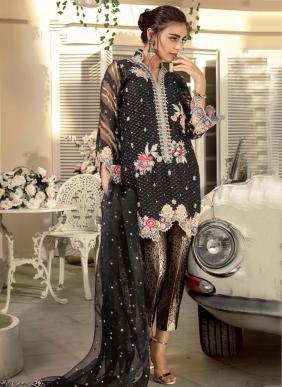 Faux Georgette And Net Heavy Embroidery Work Latest Designer Pakistani Suits Collection