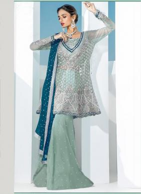 Festival Special New Designer Net Embroidery Work Pakistani Suits Collection