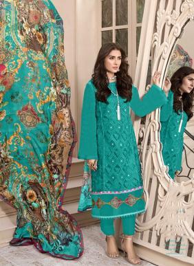 Kaara Mahe Noor Gold Heavy Schiffli Work Pure Cotton New Designer Pakistani Suits Collection