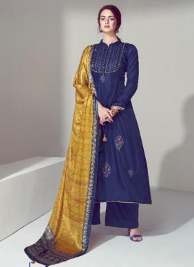 Volono Trendz Elan Vol 2 Self Embroidery Work Pure Jam Satin New Designer Palazzo Suits Collection