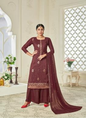 Lavina Vol 123 Party Wear Latest Designer Chinnon Embroidery Work Palazzo Suits Collection