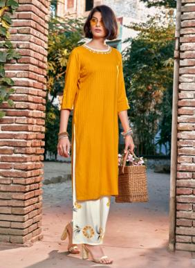 Sweety Fashion Winsky Straight Cut New Designer Fancy Rayon Long Kurtis With Palazzo Collection