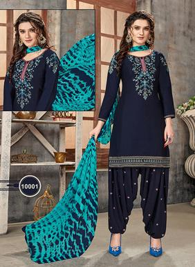Regular Wear New Designer Embroidery Work Glace Cotton Patiyala Suits Collection