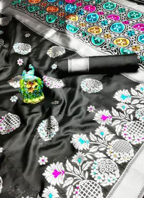 Weaving Border New Designer Lichi Silk Sarees Collection