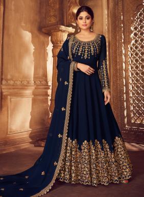 Shamita Shetty Georgette Heavy Work Abaya Style Anarkali Suits Collection