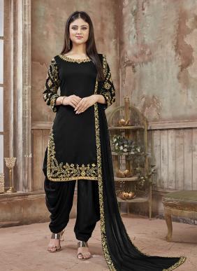 Party Wear Designer Embroidery Work Patiala Suits Collection (Minimum Size 42 for stitching)