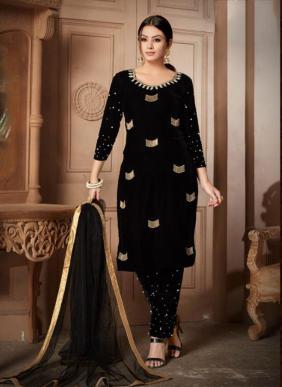 Festival Wear Hand Work New Designer Velvet Churidar Suits Wholesale Collection