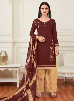 Multi Embroidery Work Regular Wear Banarasi Cotton Salwar Suits Wholesale Collection