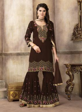 Heavy Embroidery Work Latest Designer Wedding Wear Sharara Suits Collection