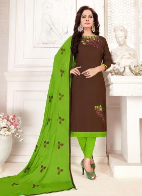 Embroidery Work New Fancy Daily Wear Glace Cotton Churidar Suits Collection