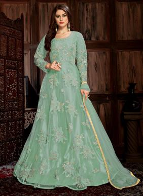 Net Sequins And Coading Work Floor Length Anarkali Suits Collection