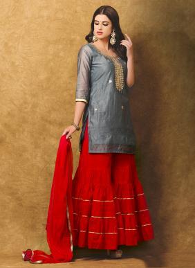 Eid Special Chanderi Festival Wear Gota Patti Work Sharara Wholesale Collection