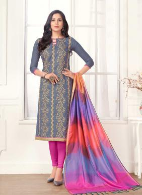 Embroidery Work Cotton Daily Wear Churidar Suits Wholesale Collection With Silk Dupatta