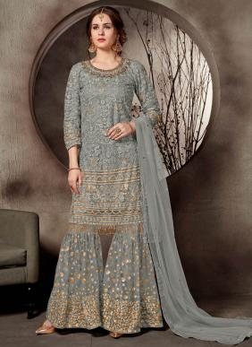 Heavy Embroidery Work Latest Designer Net Sharara Suits Collection For Wedding Function