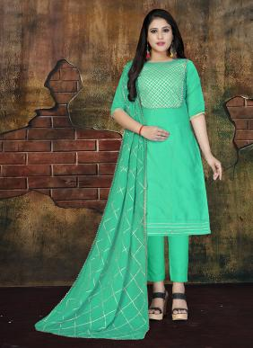 Heavy Gota Work New Fancy Modal Cotton Casual Wear Churidar Suits Collection