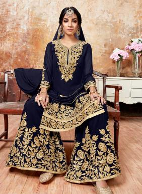 Heavy Embroidery Work Faux Georgette Designer Sharara Suits Collection