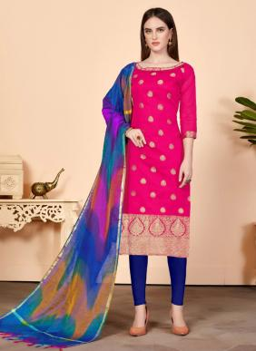 Reegular Wear Banarasi Silk Churidar Suits Wholesale Collection