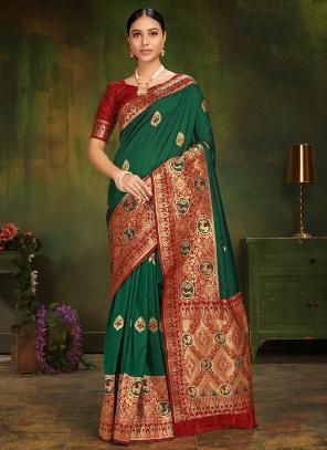 Wedding Wear Green Silk Weaving Saree