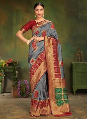 Wedding Wear Grey Silk Weaving Saree