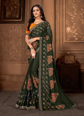 Daily Wear Green Georgette Printed Work Saree