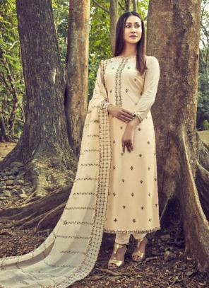 Cream Cotton Silk Casual Wear Embroidery Work Straight Suit