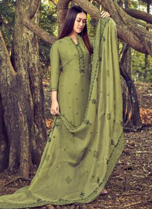 Light Green Cotton Silk Casual Wear Embroidery Work Straight Suit