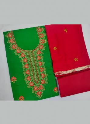 Green Cotton Daily Wear Embroidery Work Salwar Suit