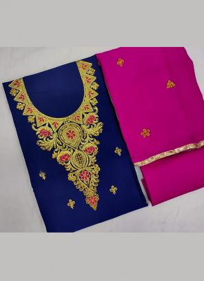 Navy Blue Cotton Daily Wear Embroidery Work Salwar Suit