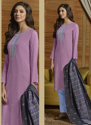 Lavender Muslin Casual Wear Embroidery Work Palazzo Suit