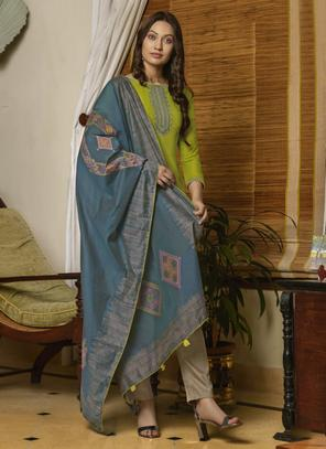 Light Green Muslin Casual Wear Embroidery Work Palazzo Suit