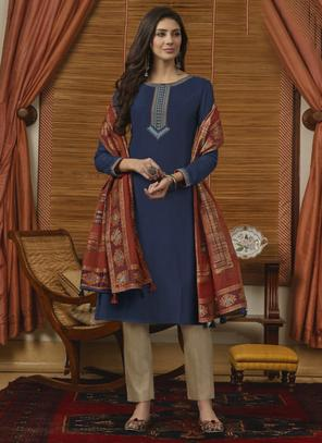 Navy Blue Muslin Casual Wear Embroidery Work Straight Suit