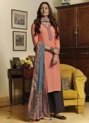 Peach Muslin Casual Wear Embroidery Work Palazzo Suit