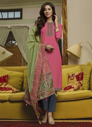 Pink Muslin Casual Wear Embroidery Work Straight Suit