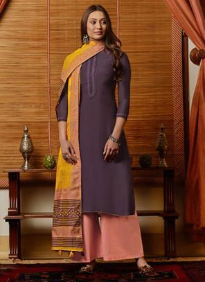Purple Muslin Casual Wear Embroidery Work Palazzo Suit