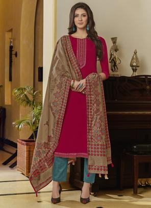 Rani Muslin Casual Wear Embroidery Work Churidar Suit