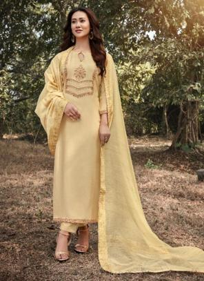 Cream Muslin Traditional Wear Embroidery Work Straight Suit