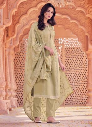 Brown Viscose Festival Wear Embroidery Work Straight Suit