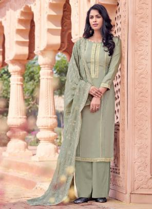 Grey Viscose Festival Wear Embroidery Work Straight Suit