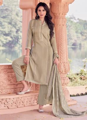 Light Brown Viscose Festival Wear Embroidery Work Straight Suit