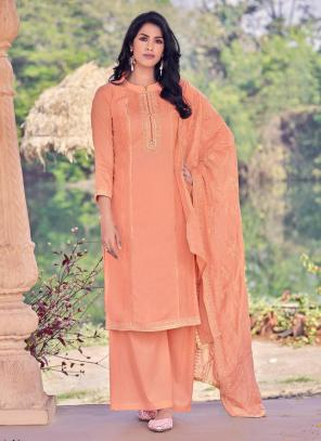 Peach Viscose Festival Wear Embroidery Work Straight Suit