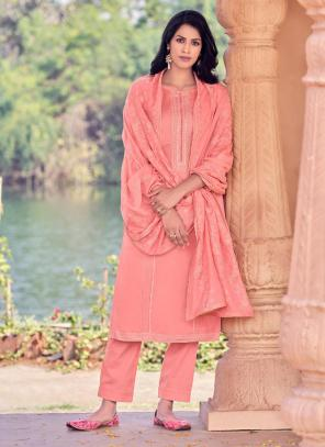 Pink Viscose Festival Wear Embroidery Work Straight Suit