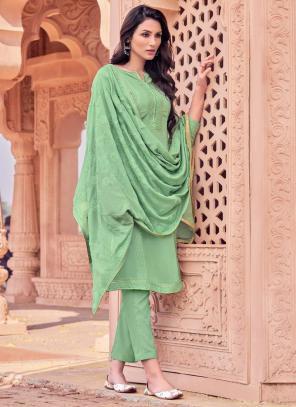 Pista Green Viscose Festival Wear Embroidery Work Straight Suit