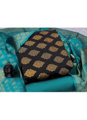 Weaving Black Banarasi Silk Casual Wear Salwar Suit