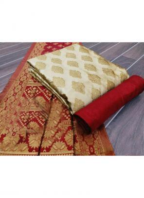 Cream Banarasi Silk Casual Wear Weaving Salwar Suit Dress Material