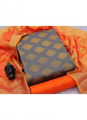 Grey Banarasi Silk Casual Wear Weaving Salwar Suit
