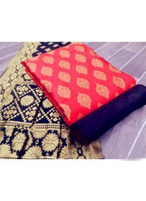 Light Pink Banarasi Silk Casual Wear Weaving Salwar Suit